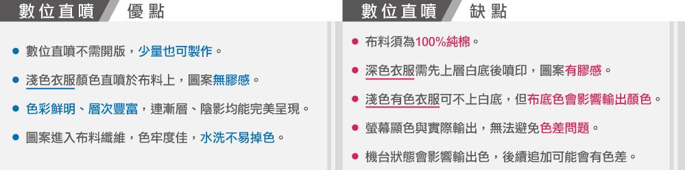 台灣創意家數位直噴優缺點,台灣創意家服飾,團體制服訂製,團體服客製化,MIT台灣工廠製造