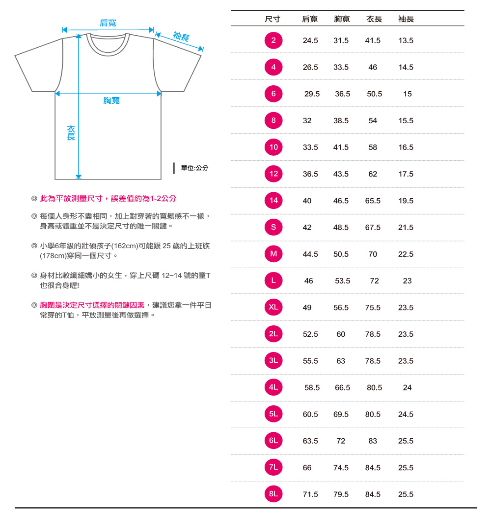 創意家團體服T恤童版尺吋表