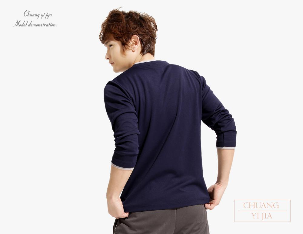 排汗T恤V領假兩件長袖中性版